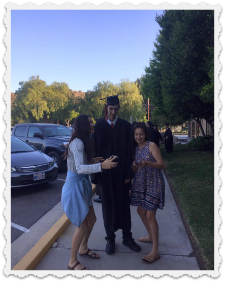 graduation for Aaron, with Aubrey and friend