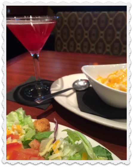 June 5 - mac & cheese, salad, martini