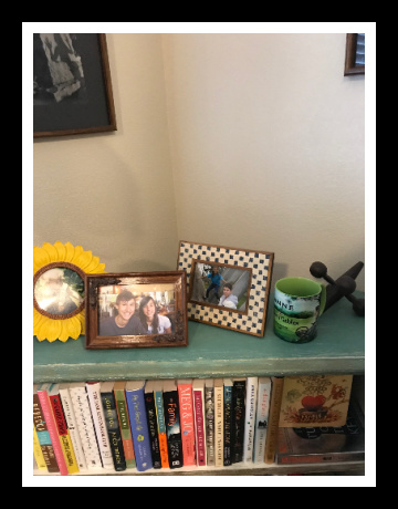 framed shelf and mug